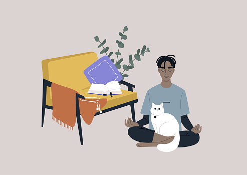 Meditation at home, a young male Black character sitting on the floor in the living room with a cat on their lap