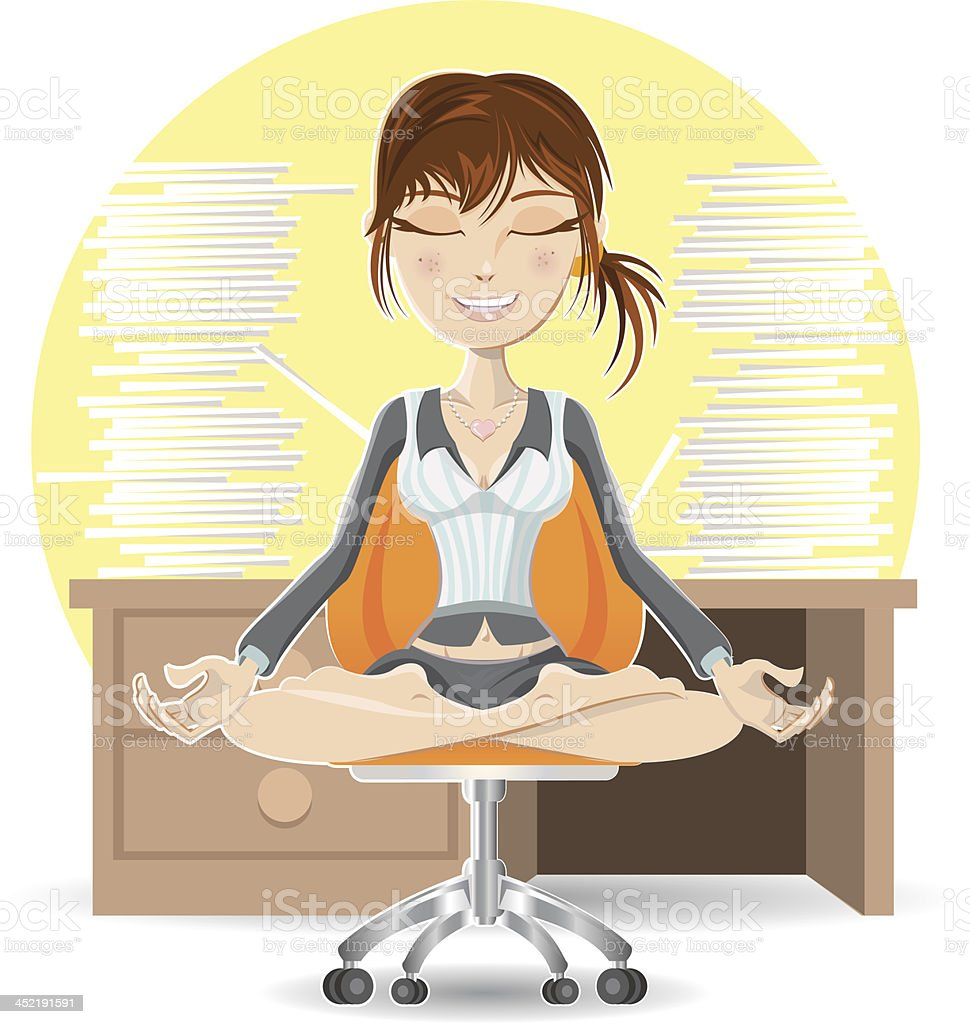 Meditation At The Office royalty-free stock vector art