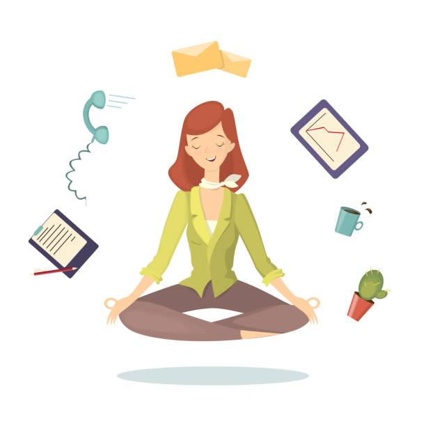冥想在工作。 - 鬆弛 幅插畫檔、美工圖案、卡通及圖標