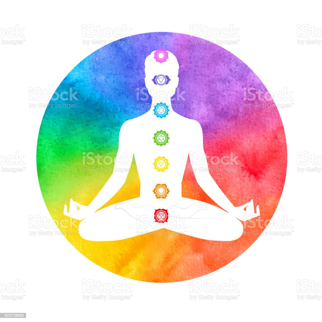 Meditation, aura and chakras. vector art illustration