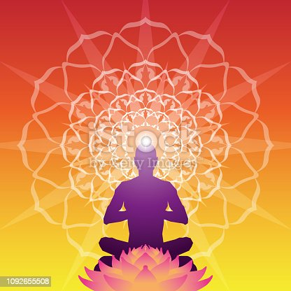 Vector Illustration of a beautiful, colourful and inspiring silhouette of a men Meditating with a Mandala Aura Background