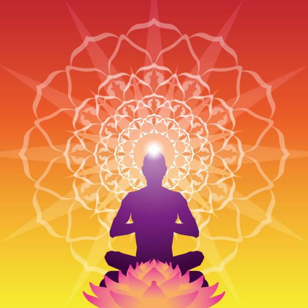 stockillustraties, clipart, cartoons en iconen met meditatie aura achtergrond - boeddha