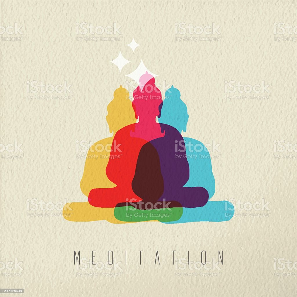 Meditation concept design of peace asian buddha vector art illustration