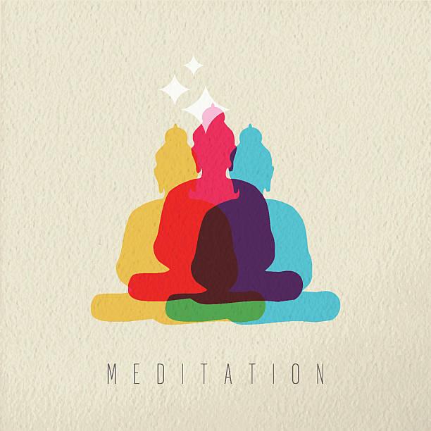 meditation concept design of peace asian buddha - buddha stock illustrations, clip art, cartoons, & icons