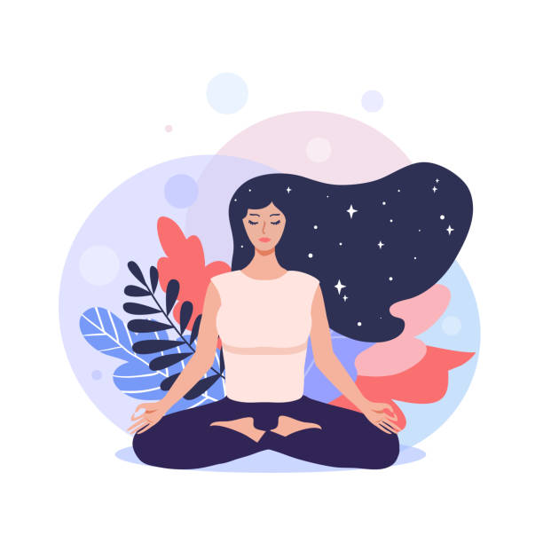 bildbanksillustrationer, clip art samt tecknat material och ikoner med meditation koncept illustration. - korslagda ben