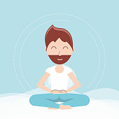 cartoon man practicing  yoga in a lotus pose icon over blue background colorful design vector illustration