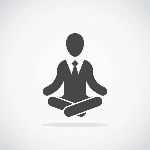 meditation icon. businessman in formal suits meditating in lotus pose - buddha stock illustrations, clip art, cartoons, & icons