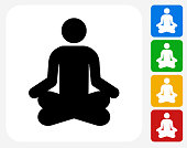 Meditation Icon Flat Graphic Design