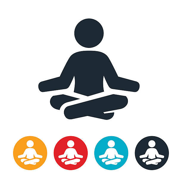 Meditation Icon An icon of a person meditating. The person sits cross legged with arms outstretched on knees. meditation stock illustrations
