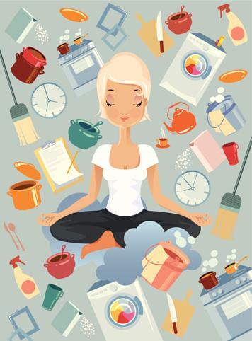 Meditation in kitchen.