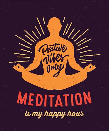 Meditation is my happy hour t-shirt design