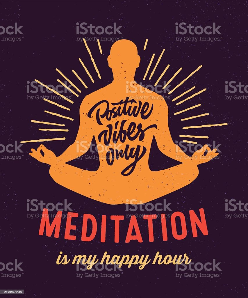 Meditation is my happy hour t-shirt design vector art illustration