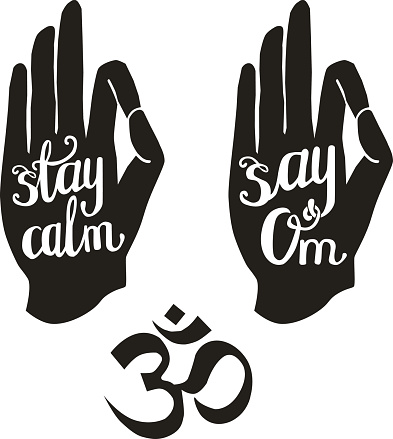 Meditation lettering with human palms