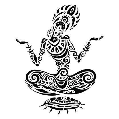 meditation lotus pose tattoo style stock illustration