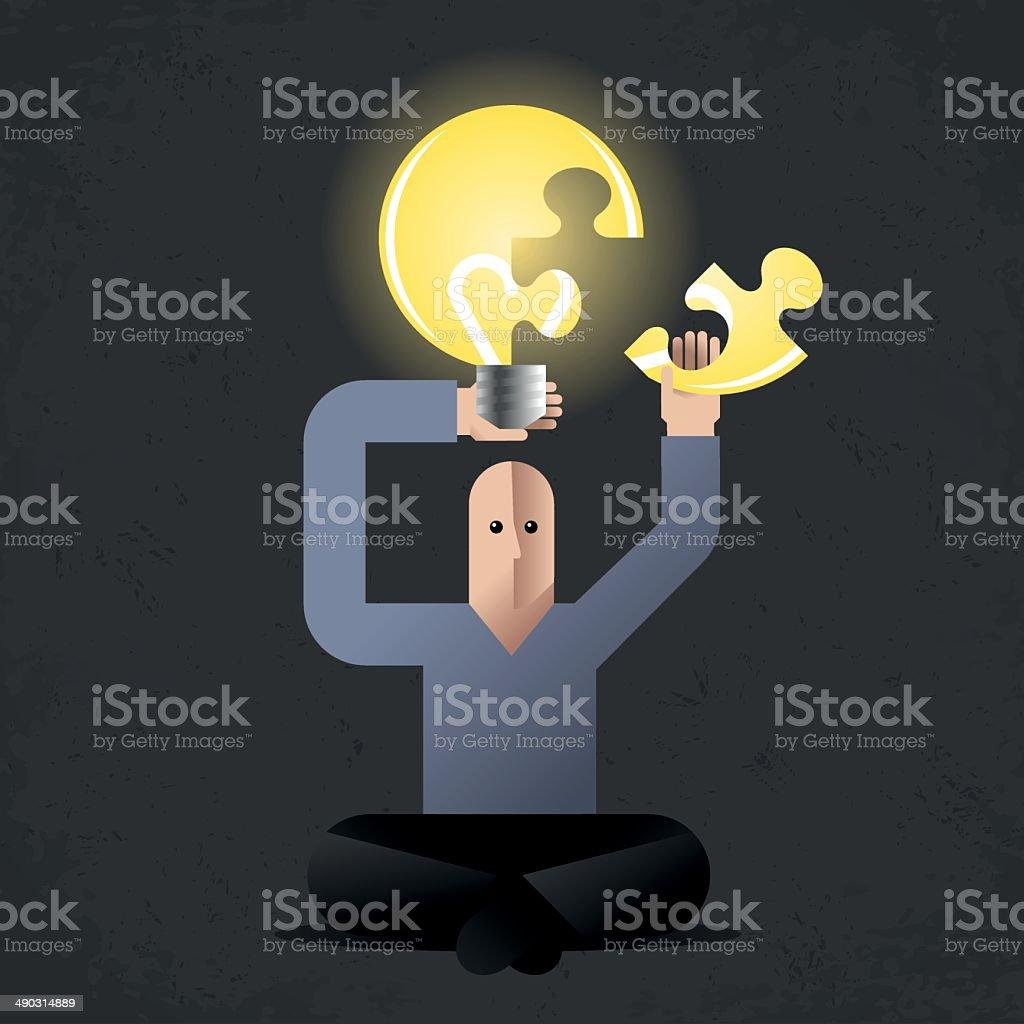 Meditation of Idea Finder vector art illustration