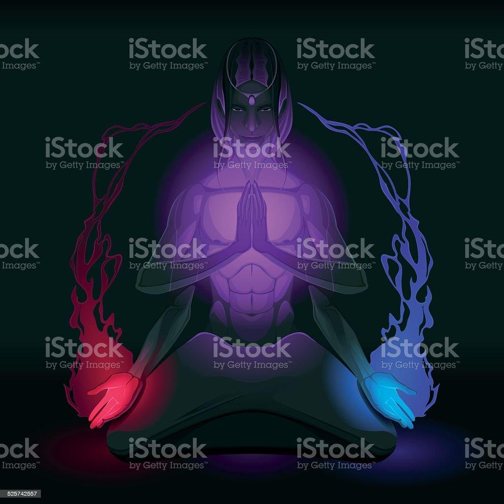 Meditation on union of the opposite inside vector art illustration