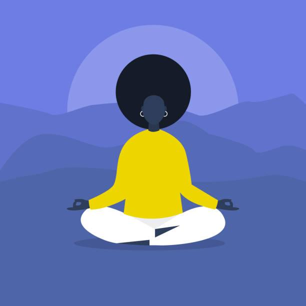 ilustrações, clipart, desenhos animados e ícones de meditação. yoga ao ar livre. harmonia e relaxamento. personagem feminina negra calma sentado em posição de lótus. ilustração em vetor editável plana, clip-art. estilo de vida moderno e saudável - consciência negra