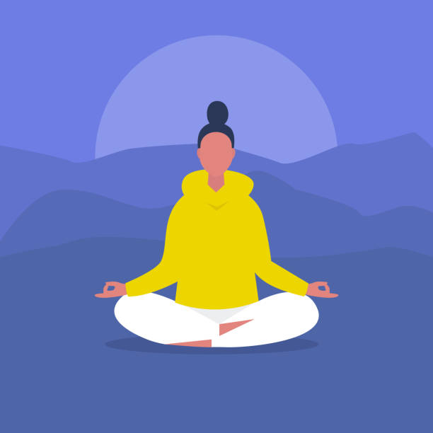 meditation. outdoor yoga. harmony and relaxation. calm female character sitting in a lotus pose. flat editable vector illustration, clip art. modern healthy lifestyle - mindfulness stock illustrations
