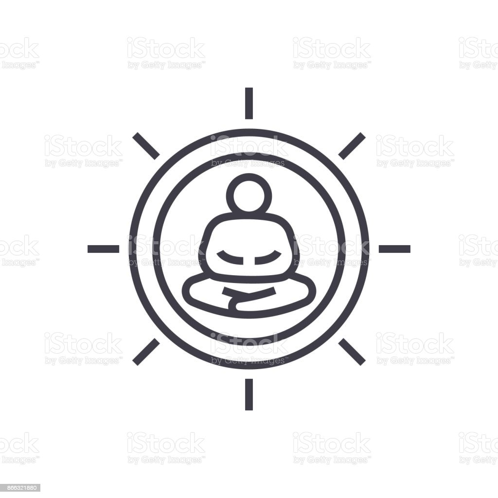 meditation pose linear icon, sign, symbol, vector on isolated background vector art illustration