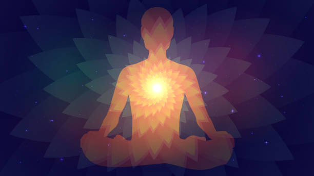 Meditation. Silhouette of human Silhouette of human sitting in the lotus position on fractal background. Meditation, yoga, trans meditation stock illustrations