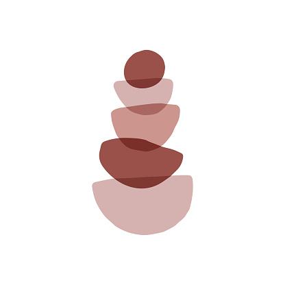 Meditation stones flat vector illustration. Abstract shape rocks pyramid