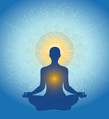 A figure sits in classic meditation pose, in blue hues.