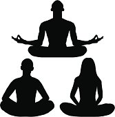 People in lotus position.