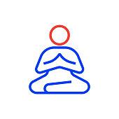 Meditation Vector Line Icon - Editable Stroke, Simple Line Symbol, Premium Quality Design Element.