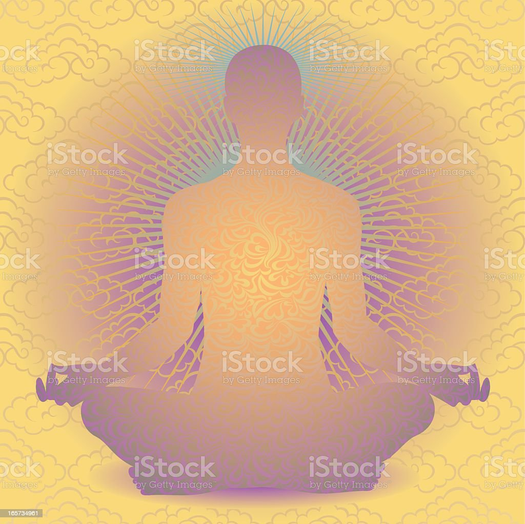 Meditation with Cloud Pattern royalty-free meditation with cloud pattern stock vector art & more images of buddhism