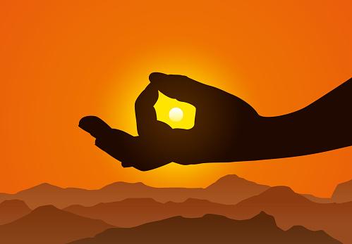 Meditation with Sun Inside Mudra Hand Symbol