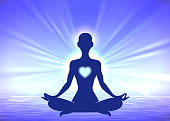 Meditation woman silhouette on blue background
