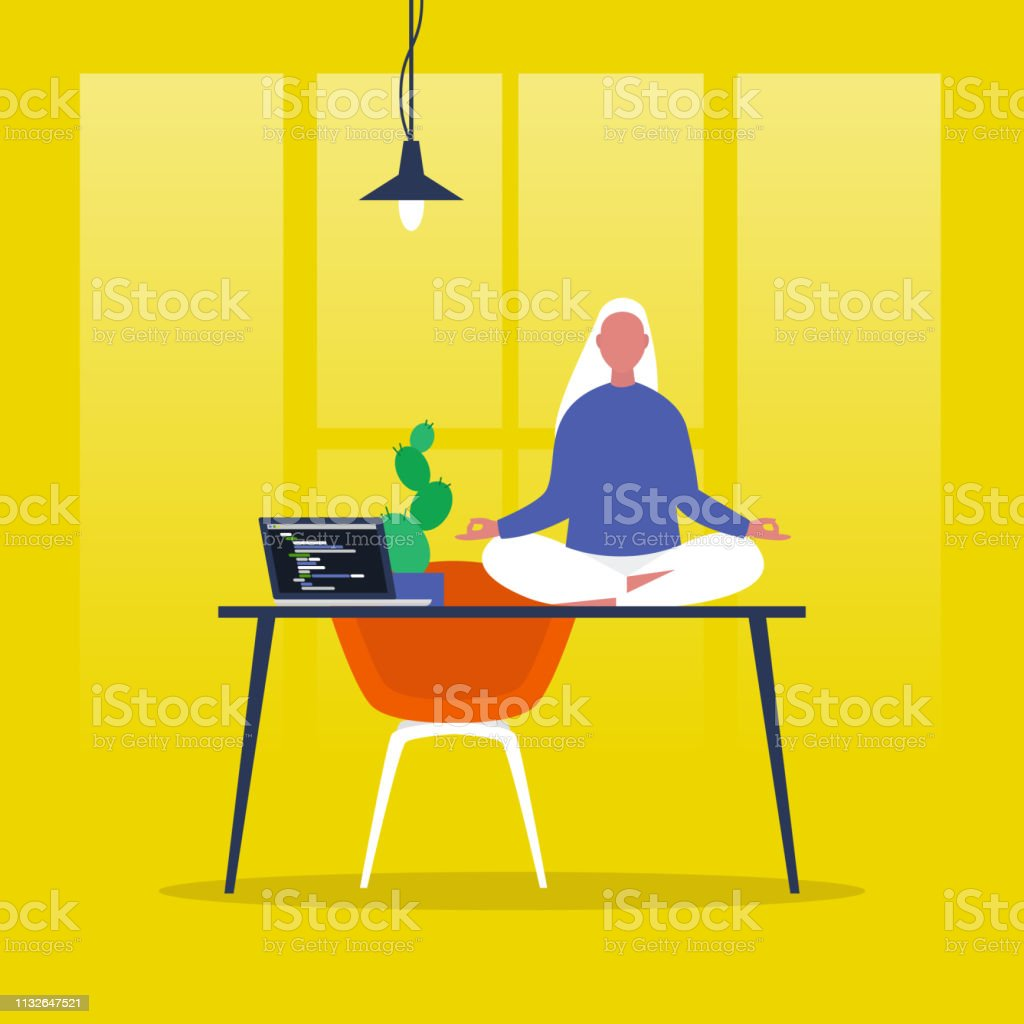 Meditatie. Yoga op kantoor. Harmonie en ontspanning. Kalme vrouwelijke karakter zittend in een Lotus poseren op een bureau. Platte bewerkbare vector illustratie, illustraties. Moderne gezonde levensstijl - Royalty-free Aanrecht vectorkunst