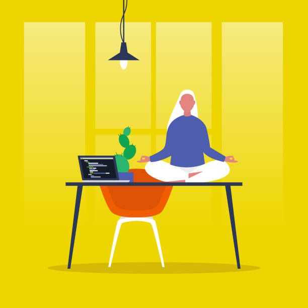meditation. yoga at the office. harmony and relaxation. calm female character sitting in a lotus pose on a desk. flat editable vector illustration, clip art. modern healthy lifestyle - meditating stock illustrations