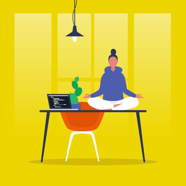 ilustrações de stock, clip art, desenhos animados e ícones de meditation. yoga at the office. harmony and relaxation. calm female character sitting in a lotus pose on a desk. flat editable vector illustration, clip art. modern healthy lifestyle - pausa para café