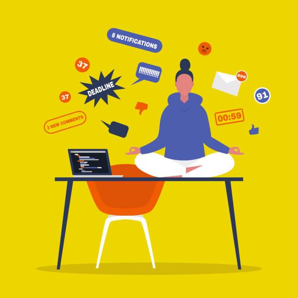 Meditation. Yoga at the office. Harmony and relaxation. Calm female character sitting in a lotus pose on a desk surrounded by the cloud of pop up notifications. Flat editable vector illustration Meditation. Yoga at the office. Harmony and relaxation. Calm female character sitting in a lotus pose on a desk surrounded by the cloud of pop up notifications. Flat editable vector illustration meditation stock illustrations