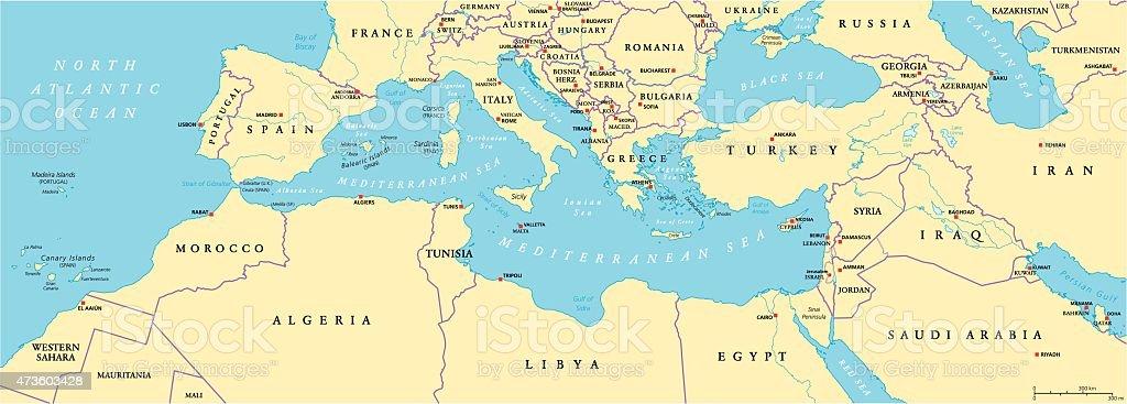 Bassin Méditerranéen Carte Politique – Cliparts vectoriels et plus