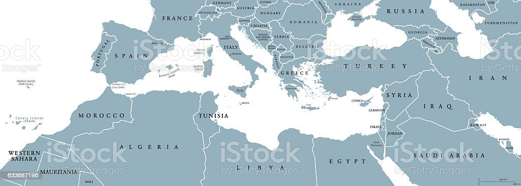 Mediterranean Basin political map vector art illustration