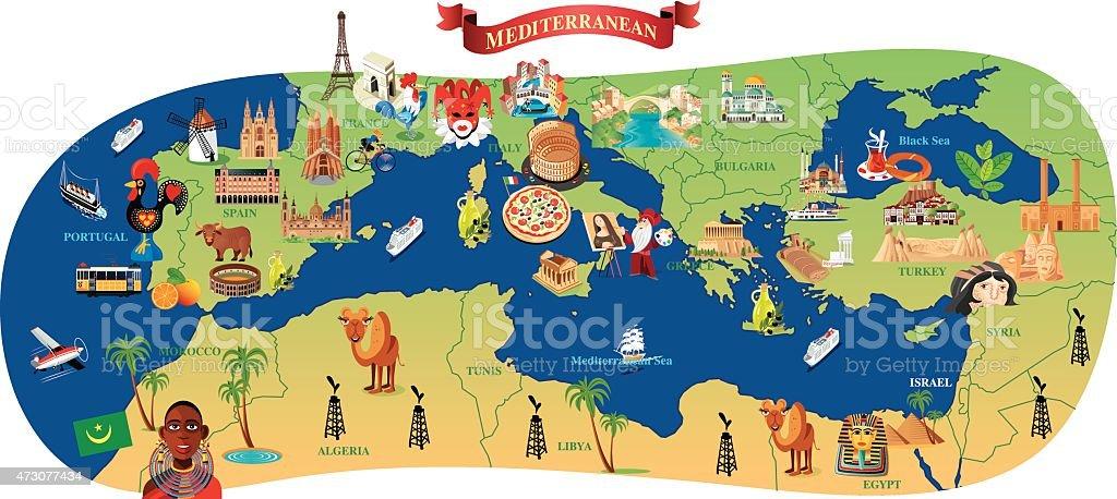 Mediterrâneo Mapa dos - ilustração de arte em vetor