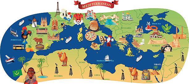 ilustrações, clipart, desenhos animados e ícones de mediterrâneo mapa dos - mapa do oriente médio