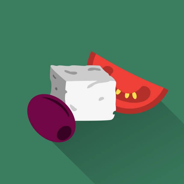 ilustrações de stock, clip art, desenhos animados e ícones de mediterranean cuisine – olive, cheese cube, tomato - mediterranean food