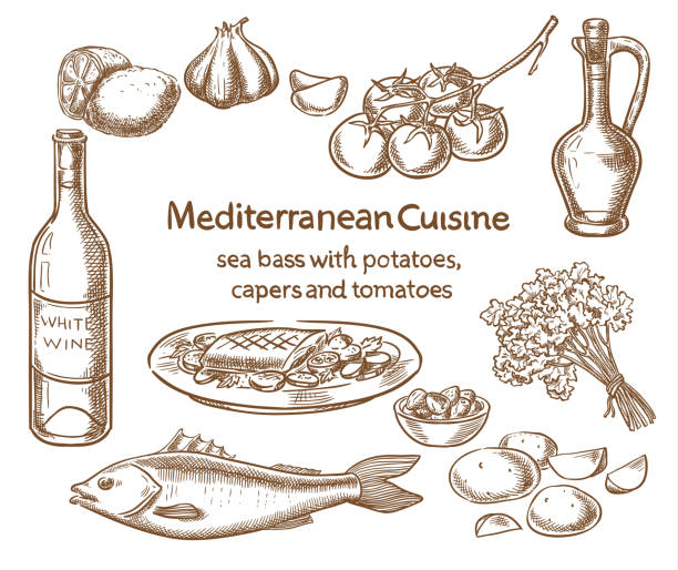 mediterranean cuisine. sea bass with potatoes,capers and tomatoes. vector sketch. - cherry tomato stock illustrations