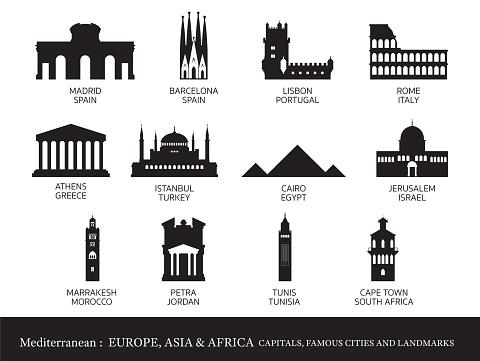 Mediterranean Europe, Africa, Asia Cities Landmarks Silhouette