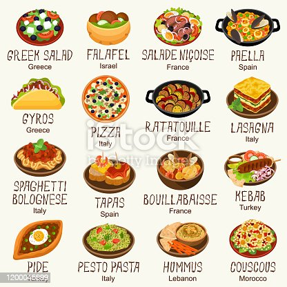 Mediterranean cuisine dishes vector illustration set