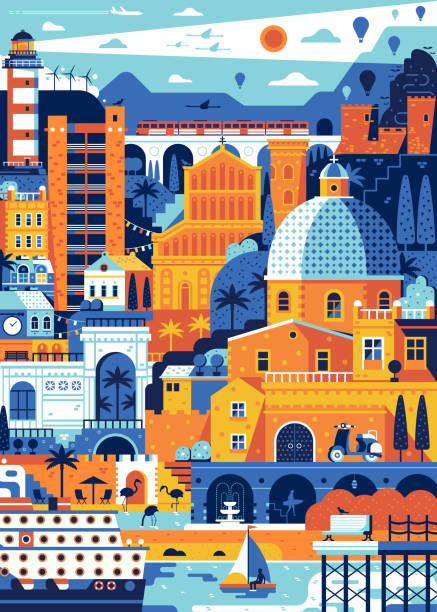 illustrazioni stock, clip art, cartoni animati e icone di tendenza di poster di viaggio di mediterranean italy sea town cagliari - sardegna