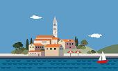 Mediterranean landscape by sea, little town, resort, beach, flat design, vector illustration