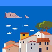 beautiful spanish town on the coast with fishing boats