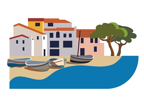 Mediterranean landscape with town and boats flat style vector illustration