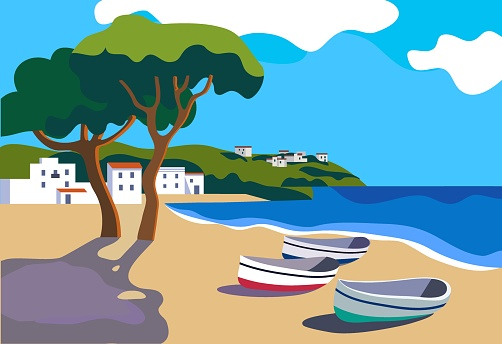 Mediterranean landscape with white town and boats flat style vector illustration