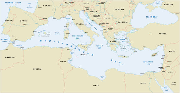 illustrazioni stock, clip art, cartoni animati e icone di tendenza di mediterranean sea map - mar mediterraneo