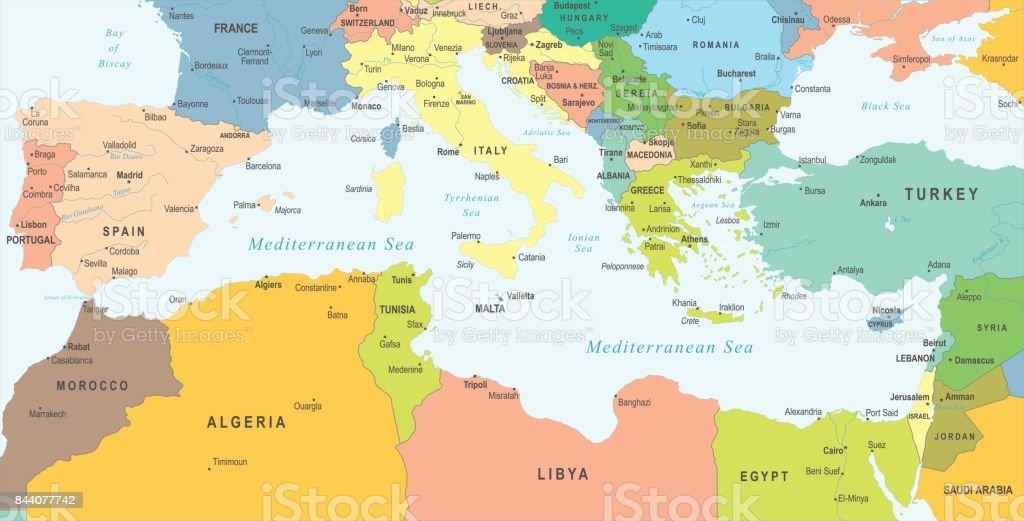 middellandse zee kaart Middellandse Zee Kaart Vectorillustratie Stockvectorkunst en meer